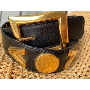 Escada Accessories - VTG ESCADA Germany Black Belt Coins Buckle 38 / M